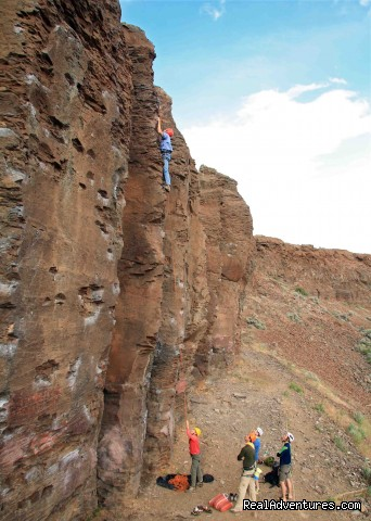 Climbing The Feathers at Frenchman Coulee in E. WA - Authentic NW Nature, Wildlife, Wine & Active tours