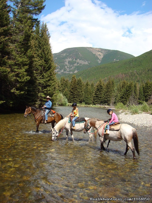 Riding across the Boulder River | Image #5/18 | Hawley Mountain Guest Ranch Vacation
