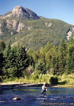Fly Fishing the Boulder River at ranch property | Image #2/18 | Hawley Mountain Guest Ranch Vacation
