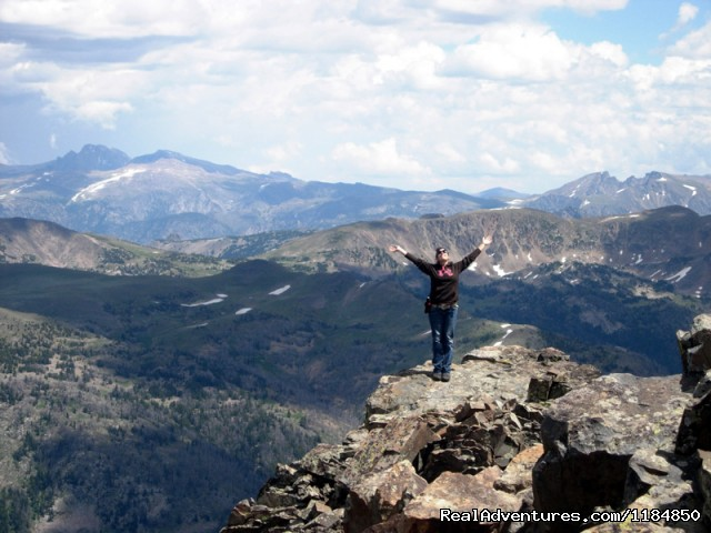 Hiker on the top of Monument Peak - Hawley Mountain Guest Ranch Vacation