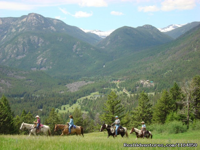 Horseback ride above Hawley Mountain Ranch - Hawley Mountain Guest Ranch Vacation