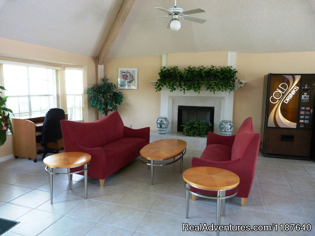 The clubhouse features a fireplace and lots of amenities - 'WELCOME TO POTTER'S CASTLE' Disney World