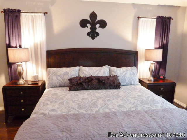 Gorgeous new king bed awaits in Potter's master bedroom - 'WELCOME TO POTTER'S CASTLE' Disney World