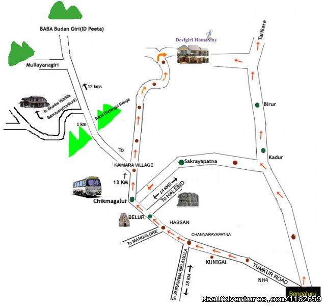 Image Devigiri Homestay Chikmagalur Route Map Jungle - Chikmagalur map