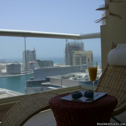 Balcony with Marina and Yacht Club view - Corner 1-bed apartment sea/Marina view in Dubai