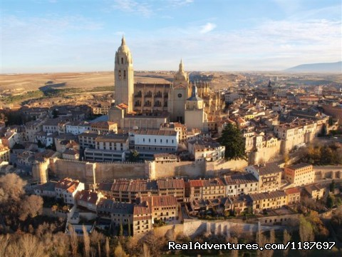 Segovia Old Town from the air - Hot-air Balloon Rides in Madrid & Segovia, Spain