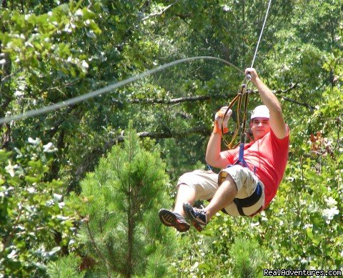 Thrilling zipline adventure including 6 different ziplines with panoramic views of the east Texas countryside.