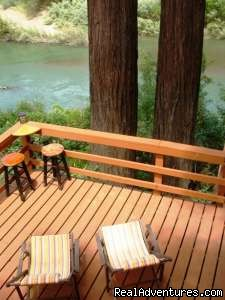 Lower level deck where hot tub is - Summerland Cabin Russian River