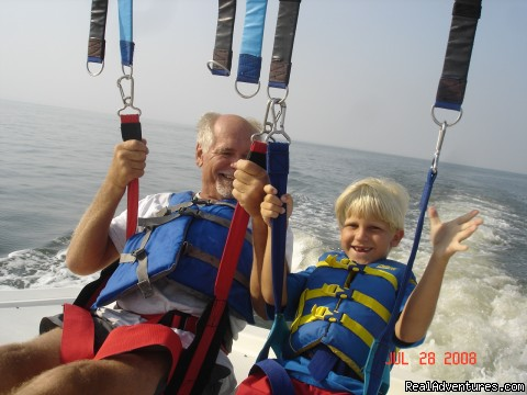 Grandfather and grandson ready for take off!! - Parasailing In Historic Cape May, N.J. with E.C.P