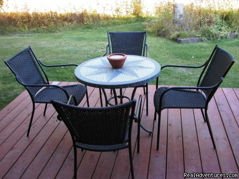 Enjoy your morning coffee out on the Patio (#3 of 3) - Alaska's Skyline Accommodations in Soldotna