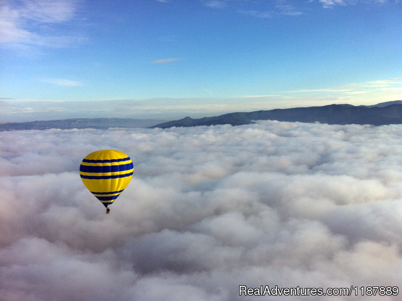 Balloon flight over the clouds