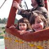 Kids on board a balloon flight
