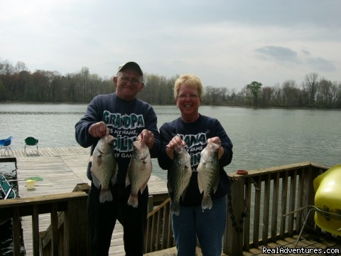 Fishing off the Dock - Weiss Lake House Vacation Rental