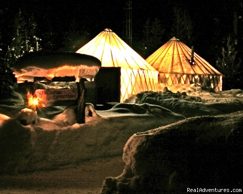 Yurts at night - Yurtilicious