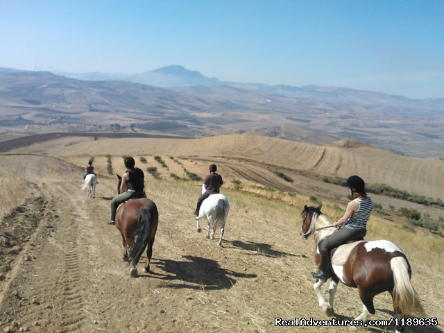 Sicily - Horse Riding Vacations (British run) Riding in the Gurfa valley.