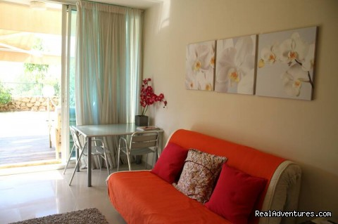 Living room - Sofa Bed - Luxury Garden Apartment in Neot Golf Caesarea