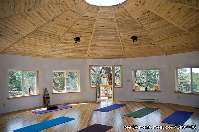 Geodesic Sacred Space - interior - Enchanted Forest Accommodations Crestone CO