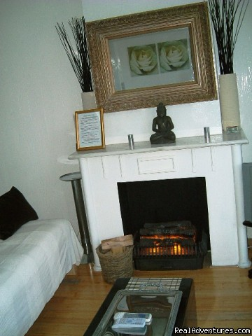 fake but yet cozy fire place of La Vie en Rose  - La Vie en Rose B&B Amsterdam