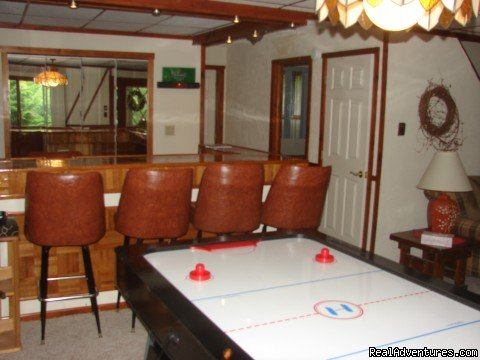 game room with wet bar and air hockey table | Image #4/21 | Charming Chalet with HUGE Deck