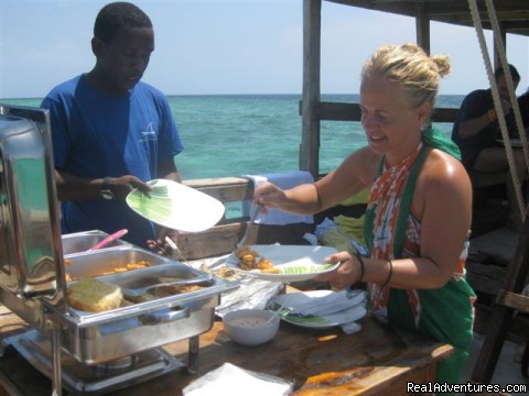 BBQ lunch on Board Mnemba Atoll snorkeling Trips. - Zanzibar Private Tours