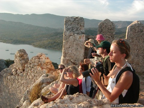 Group on top of the castle at Kale, Turkey - Peter Sommer Travels: tours in Turkey Greece Italy