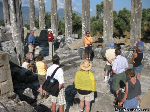 Group at temple of Zeus Euromus, Turkey - Peter Sommer Travels: tours in Turkey Greece Italy