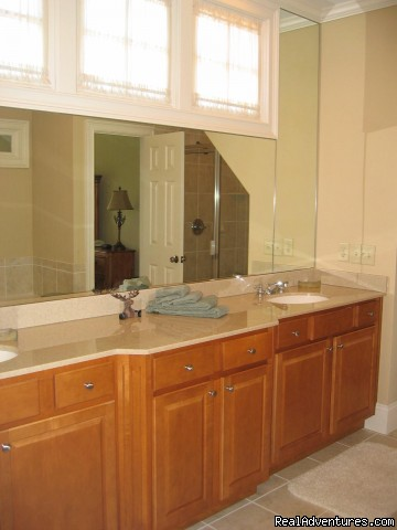Master Bath with Large Shower, Jacuzzi Bath, and Dual Vanity (#6 of 18) - Bear's Den Luxury Home Rental in Big Canoe