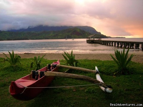 Outrigger canoe at Hanalei pier. Hanalei Beach (#17 of 19) - Guests Rave about Us See Why Resort+Snorkel Gear