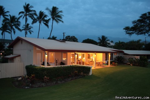 Wailele at night - Wailele Ocean Front Beach Home-Maui