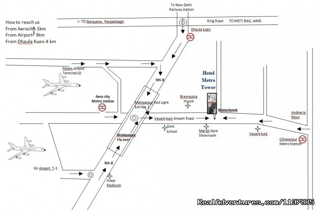 MAP OF hotel metro tower - Hotel Near New Delhi Airport