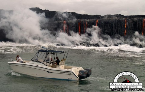 Hawaii Volcano Tour by boat  to view active lava Hawaii Adventure Tour to view Volcano Kilauea by boat to