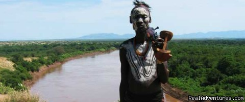 Karo Man along the Omo River - Tour and Travel to Omo Valley of Southern Ethiopia