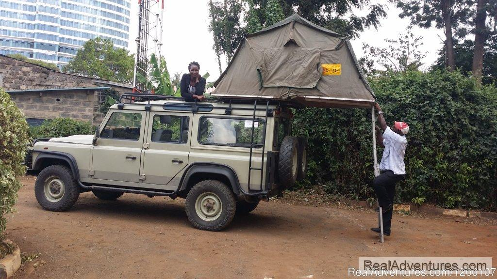 Land Rover Defender With Roof Tent, Camper Hire, 4wd Kenia