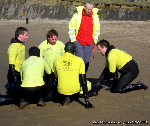 Lifeguard Training on our beach - Surf & Outdoor Sports Training Program  Ireland.