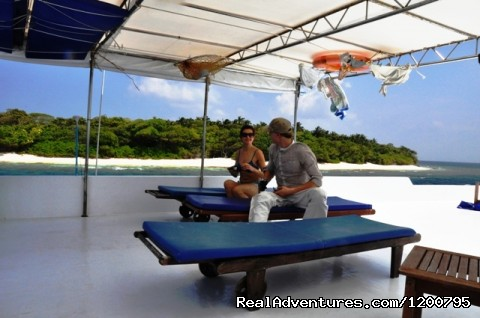 Half shade sundeck of  Liveaboard Dolphin -1 (#14 of 24) - Maldives Trips - Fishing, Surfing, & Scuba Diving