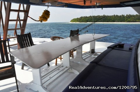 Front seat of Liveaboard Dolphin-1 - Maldives Trips - Fishing, Surfing, & Scuba Diving