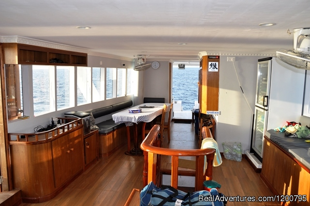 Dolphin-1 Saloon Area - Maldives Trips - Fishing, Surfing, & Scuba Diving