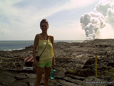 A delighted lady at the flume (#2 of 4) - Amazing Volcano Big Island Tours