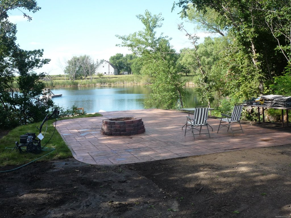 patio/firepit by the pond