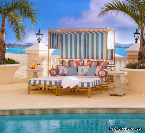 A daybed at the Castle Harbour Pool - Tucker's Point Hotel & Spa