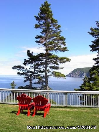 A glass of wine at the end of the day with this view....ahhh - Cycle the Cabot Trail with Freewheeling Adventures