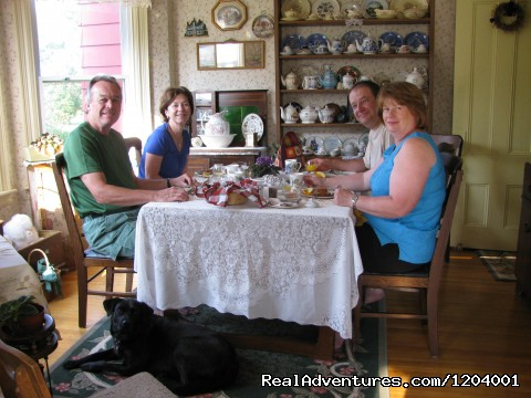 Guests enjoying our Island Traditional Breakfast - Mary MacQueen's By-The-Sea B & B.