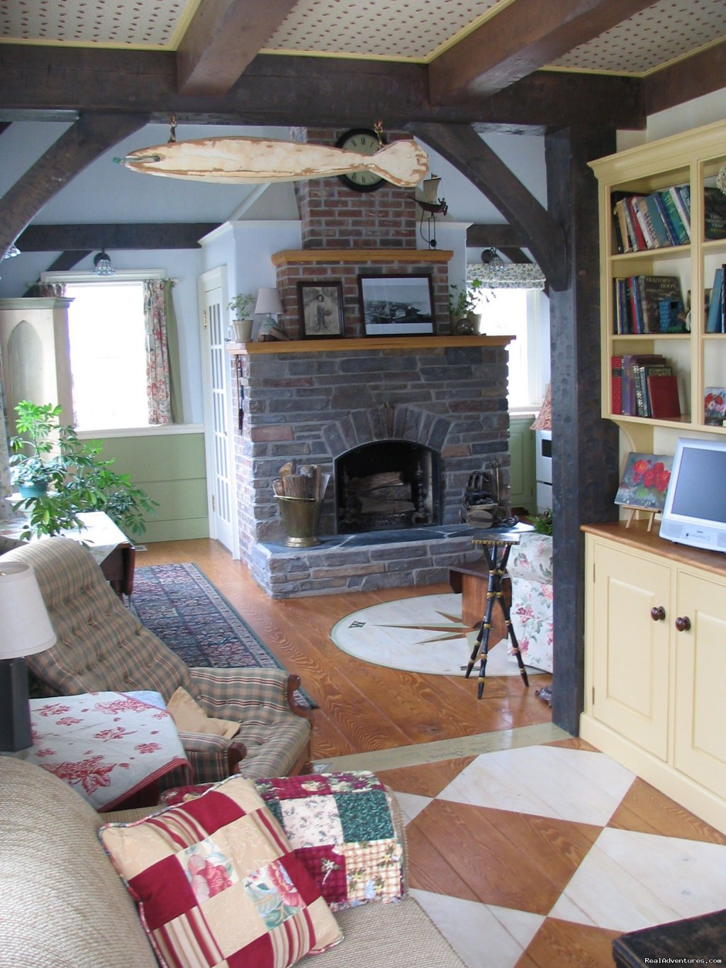 Traditional Woodburning Fireplace | Image #7/22 | Boatbuilder's Cottage - in Historic Lunenburg