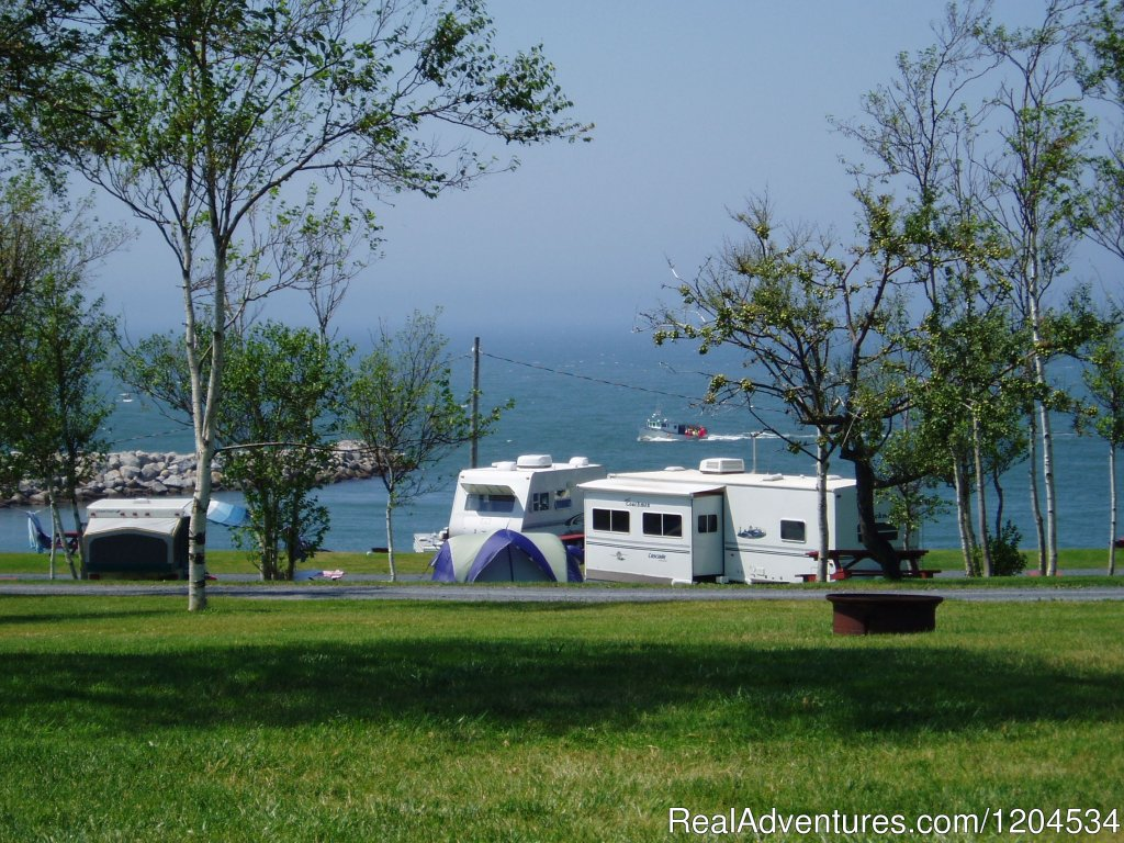 Spectacular setting on the Bay of Fundy in Southwestern Nova Scotia. Oceanfront sites for tents and RV/trailer/motor homes. Seafood market & wharf next door. Convenient location for touring Annapolis Royal and much of south-western Nova Scotia.