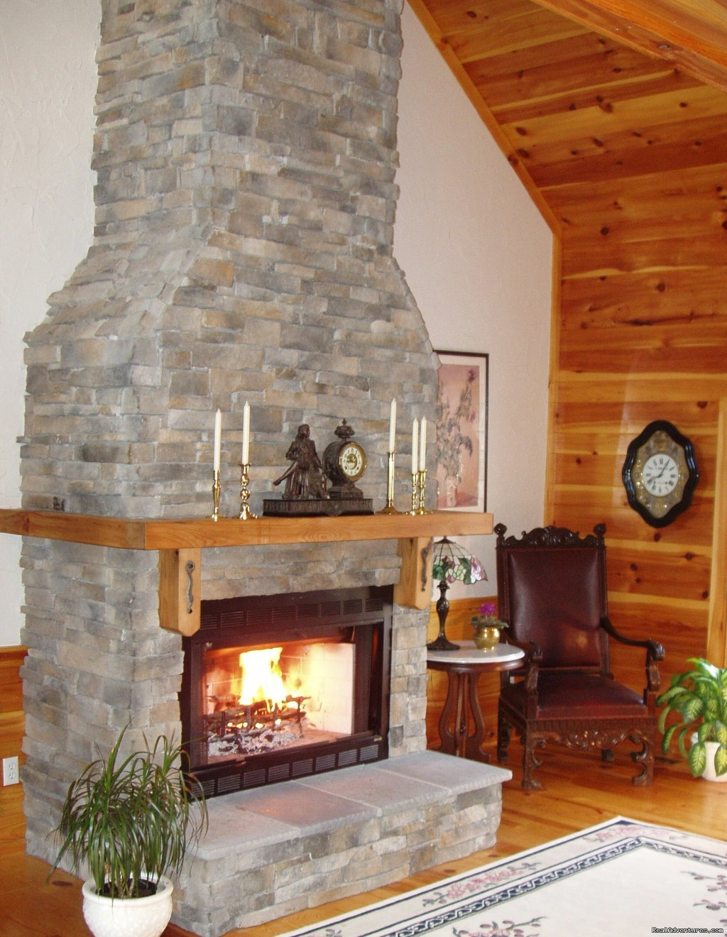 Soaring fieldstone fireplace | Image #5/21 | Enjoy the Great Outdoors at Fox Hill B&B Suites