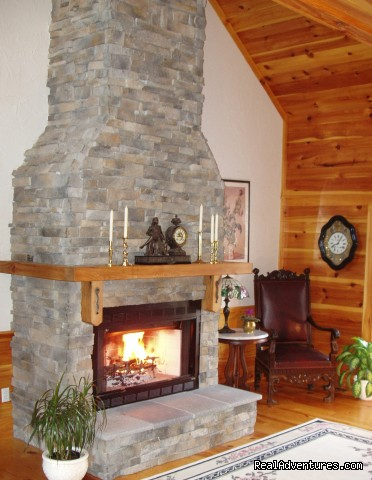 Soaring fieldstone fireplace (#5 of 24) - Enjoy the Great Outdoors at Fox Hill B&B/Cottages