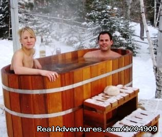 Outdoor Cedar Soaker Tubs - Cabot Shores Wilderness Resort
