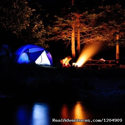 Camping along Indian Brook - Cabot Shores Wilderness Resort