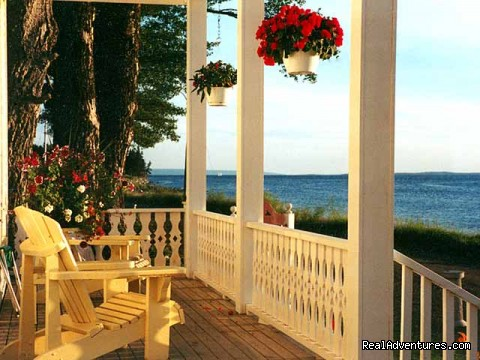 Front Deck, looking out over Bras d'Or lakes - Old Grand Narrows Hotel B&B