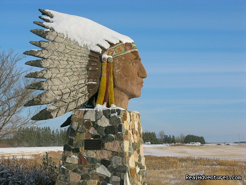 Indian Head Statue - Winter - Indian Head Town
